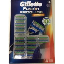 Картриджи Gillette Fusion ProGlide Power, 14 штук в упаковке