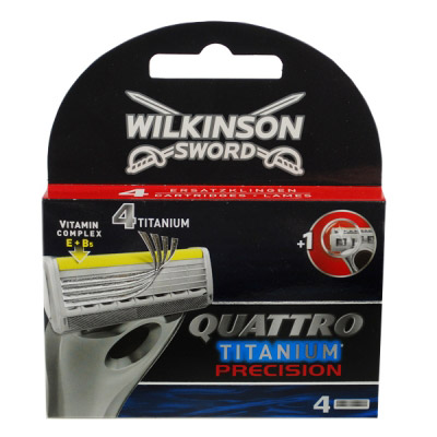 Картриджи Schick Quattro titanium precision, 4 штуки в упаковке