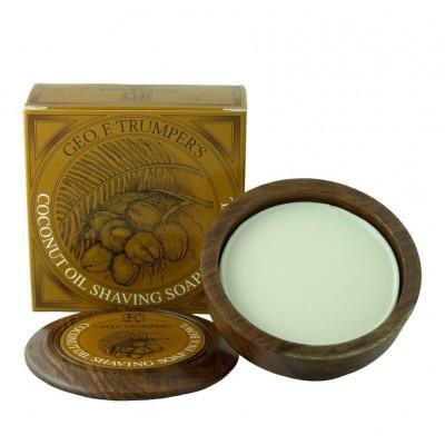 Мыло для бритья Geo F Trumper Coconut Oil Hard Shaving Soap в чаше из дерева, 80 грамм