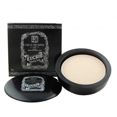 Мыло для бритья Geo F Trumper Eucris Hard Shaving Soap в чаше из дерева, 80 грамм