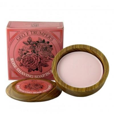 Мыло для бритья Geo F Trumper Rose Hard Shaving Soap в чаше из дерева, 80 грамм