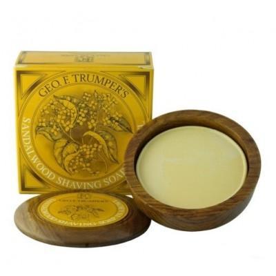Мыло для бритья Geo F Trumper Sandalwood Hard Shaving Soap в чаше из дерева, 80 грамм