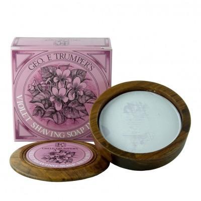 Мыло для бритья Geo F Trumper Violet Hard Shaving Soap в чаше из дерева, 80 грамм
